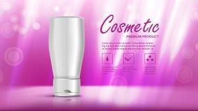 化妆瓶模板传染媒介 秀丽Bckground 瓶子空白 销售的广告 美丽的BOTOX®关心表面面部射入查出s白人妇女 3D现实的大模型 向量例证