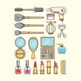 化妆用品、Haidressing和指甲油象 库存照片