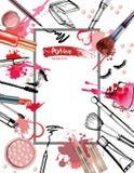化妆用品和时尚背景与组成艺术家对象:唇膏,奶油,刷子 向量 库存例证
