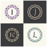 化妆用品和美容品烙记信件我和J商标设计 K和L信件组合图案 库存照片