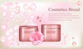 化妆用品品牌,与玫瑰油的面霜,一个化妆产品的传单的例证 图库摄影