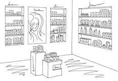 化妆用品商店图表商店黑色白色内部剪影例证传染媒介 免版税库存图片