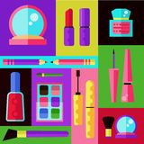 化妆用品平的传染媒介集合 库存图片