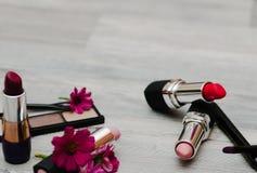 化妆用品染睫毛油, lipgloss,唇膏,胭脂,眼影膏,基础的美妙的构成 免版税库存图片