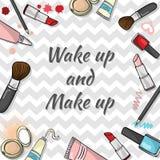 化妆用品模板 免版税库存图片