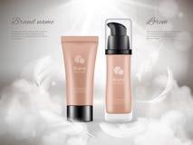 化妆用品海报 润肤液塑料瓶夜云彩羽毛蒸现实豪华增进的广告 库存例证