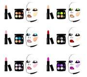 化妆用品眼睛面对红润嘴唇的构成 库存图片