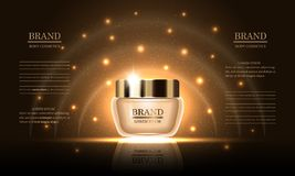 化妆用品秀丽系列,护肤的优质润肤膏在金背景,设计广告的大模型,横幅,传染媒介例证 库存例证