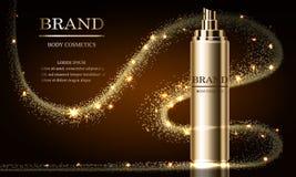 化妆用品秀丽系列,优质浪花奶油大模型广告护肤的 设计海报的,横幅模板 向量 皇族释放例证