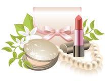 化妆用品设备组成 免版税库存照片