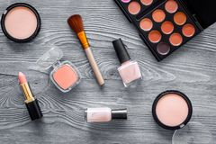 化妆用品设置了与自然构成的米黄和裸体口气在灰色木背景顶视图 免版税库存图片