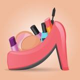 化妆用品设置了妇女鞋子传染媒介 库存图片