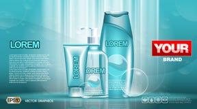 化妆用品集合广告模板,润湿的化妆水汇集盖子大模型 使目炫作用背景 奶油,浪花瓶 库存照片