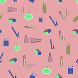 化妆用品香料厂样式抽象构成唇膏 免版税库存照片