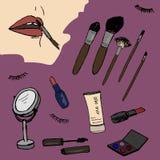 化妆用品,秀丽,时尚剪影 库存照片