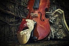 化妆舞会-歌剧面具的幽灵与小提琴和罗马彻尔的 免版税图库摄影
