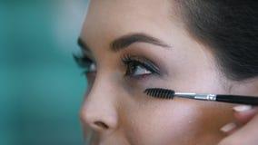 化妆过程在年轻黑发妇女的美容院-做眼睛的脸 股票视频