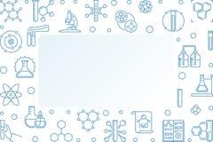化学传染媒介蓝色线性概念水平的框架 库存例证