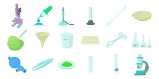 化学制品工具象集合,动画片样式 向量例证