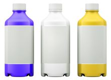 化学制品或药物的三个五颜六色的瓶 皇族释放例证
