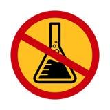 化学制品自由标志,危险化学制品警报信号化学安全,在红色横渡的圈子禁止的标志的水银自由象 库存例证