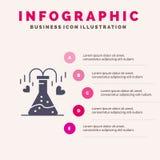 化学制品,烧瓶,心脏,爱坚实象Infographics 5步介绍背景 向量例证