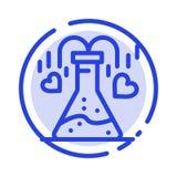 化学制品,烧瓶,心脏,爱蓝色虚线线象 库存例证