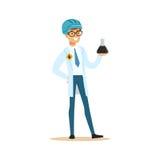 化学工程师工作在油样品的,炼油厂生产传染媒介例证 向量例证