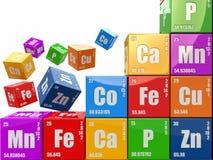 化学概念。从elemen立方体wiyh周期表围住 免版税库存图片