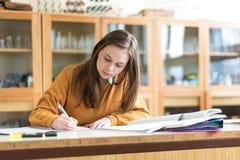 化学班的年轻女性大学生,写笔记 被聚焦的学生在教室 免版税库存照片