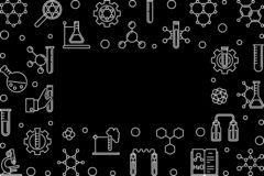 化学线在黑暗的背景的传染媒介水平的框架 库存例证