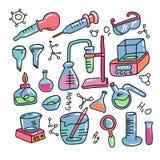化学装饰颜色手拉的象设置用化工实验室科学实验设备隔绝了传染媒介例证 库存例证