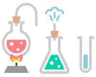 化学象 有液体的测试管 免版税库存照片