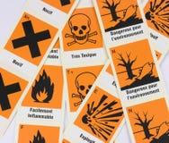 化工危险法语符号 免版税库存照片
