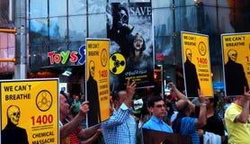化工大屠杀在叙利亚- 2年周年(纽约) 库存图片