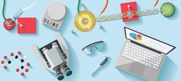 化工实验室书桌 免版税库存图片