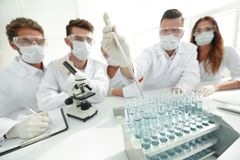 化工实验室的科学家在工作期间 免版税图库摄影