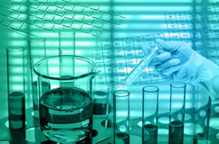 化工实验室,拿着医疗射入注射器的科学家 免版税库存照片