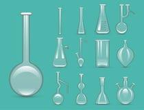 化工实验室3d实验室烧瓶玻璃器皿管液体生物工艺学分析和医疗科学设备传染媒介 库存图片