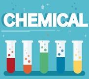 化工文本和五颜六色的实验室用清楚的液体和蓝色背景填装了 库存例证