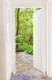 绿化森林的门 库存照片