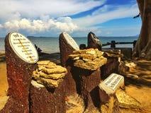 化石壳石头纪念碑 免版税库存图片