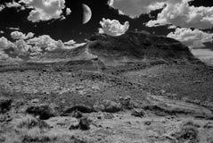 化石森林和月亮在红外线 免版税库存照片