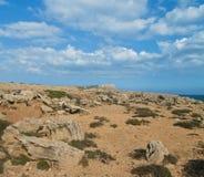 化石领域和山 库存照片