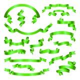 绿化被设置的丝带 横幅的汇集 也corel凹道例证向量 免版税库存照片