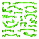 绿化被设置的丝带 横幅的汇集 也corel凹道例证向量 库存图片