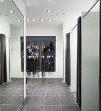 化装室内部布料商店的 免版税图库摄影
