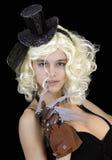 化装舞会所穿着的服装的恐怖的女孩 免版税库存图片