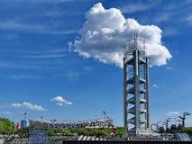北京全国奥林匹克公园在蓝天和白色云彩下 免版税库存照片