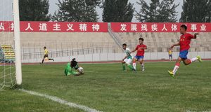 北京国安伟大的龙杯2014年 库存图片